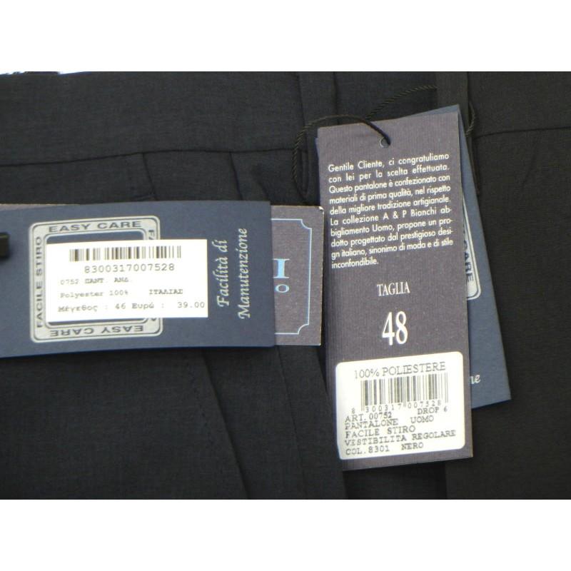 Ανδρικα Παντελονια - K0752-03 BIANCHI παντελόνι ΜΠΛΕ Κλασικά με τσάκιση Ανδρικα ρουχα - borghese.gr
