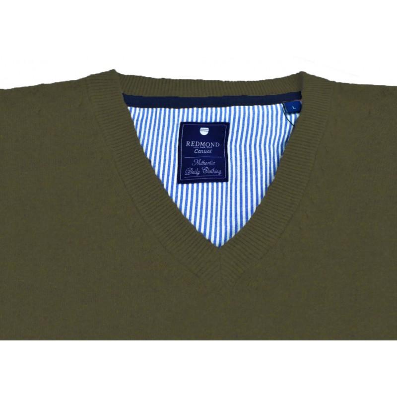 Ανδρικα Πλεκτα - X0600-07 REDMOND βαμβακερό πουλόβερ V Πλεκτά  Ανδρικα ρουχα - borghese.gr
