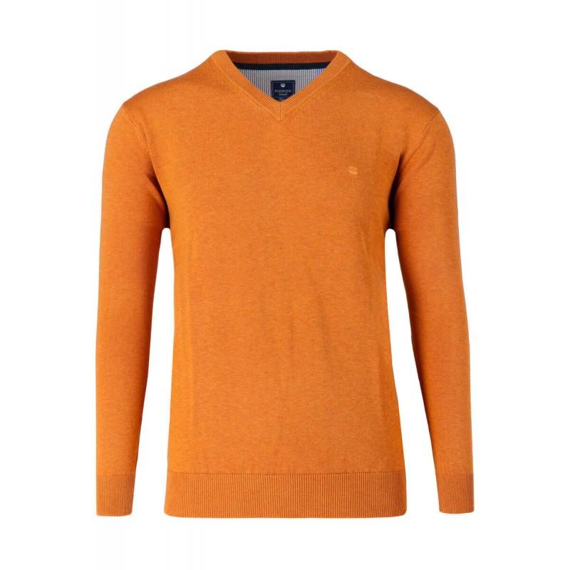 Ανδρικα Πλεκτα - X0600-13 REDMOND βαμβακερό πουλόβερ V Πλεκτά  Ανδρικα ρουχα - borghese.gr