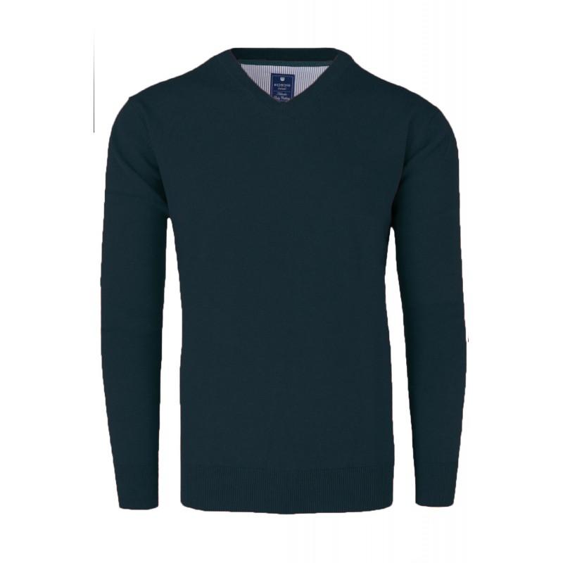 Ανδρικα Πλεκτα - X0600-32 REDMOND βαμβακερό πουλόβερ V Πλεκτά  Ανδρικα ρουχα - borghese.gr